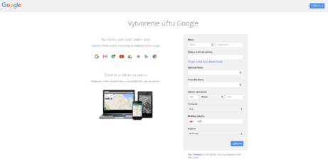 4-Vytvorenie uctu Google